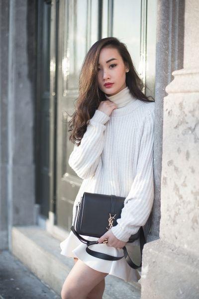 модные луки свитер юбка