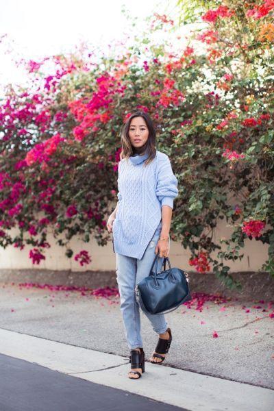 модный лук свитер джинсы