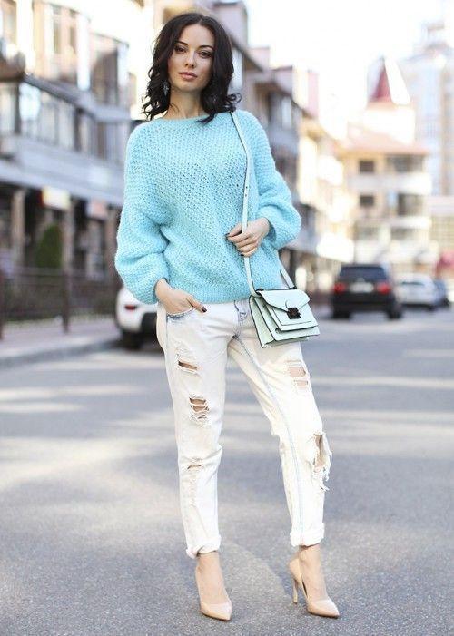 свитер рваные джинсы лодочки