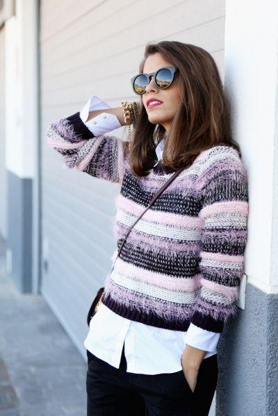 стильный образ-рубашка свитер брюки